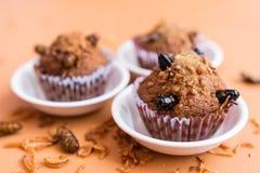 Banaan cupcakes met insectvoedsel Stock Fotografie