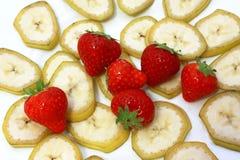 Banaan en aardbei Stock Afbeelding