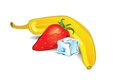 Banaan en aardbeiaromaillustratie Stock Afbeelding