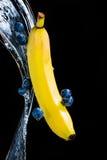 Banaan en blauwe bessen op zwarte met plons Stock Fotografie