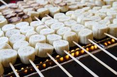 Banaan grillrd Stock Foto's