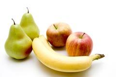 Banaan met appel royalty-vrije stock afbeelding