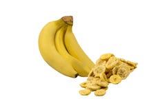 Banaan met geïsoleerde banaanspaanders stock afbeeldingen