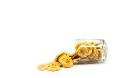 Banaan met geïsoleerde banaanspaanders royalty-vrije stock afbeeldingen