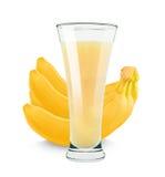 Banaan met melk Vers sap royalty-vrije stock fotografie