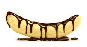 Banaan in zwarte chocolade vector illustratie