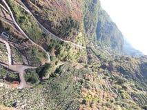 Banaanaanplantingen bij La Palma, Canarische Eilanden, Spanje Stock Foto's