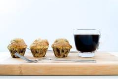 Banaancake met een kopkoffie Stock Fotografie