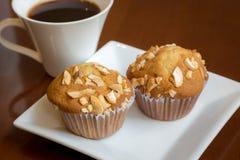 Banaancakes met koffie Royalty-vrije Stock Fotografie