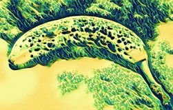 Banaanillustratie met golf, wervelingseffect vector illustratie