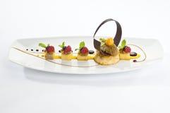 Banaankaramel met fruit en chocolade Royalty-vrije Stock Fotografie