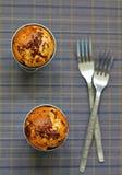 Banaanmuffins met chocolade Royalty-vrije Stock Afbeeldingen