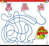 Banalabyrintlek med svin och äpplen Royaltyfri Foto