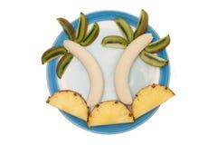 Banan-, ananas- och kiwigarnering Royaltyfri Bild