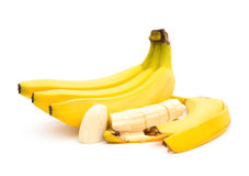 Banan, banan skóra i plasterki i Zdjęcia Royalty Free