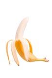 Banan bez skóry Obrany banan na białym tle Zdjęcia Stock