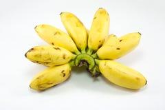 Banan för dam Finger på vit bakgrund Arkivfoto