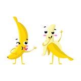 banan Gulliga par för fruktvektortecken som isoleras på vit bakgrund Roliga emoticonsframsidor illustration Royaltyfri Bild