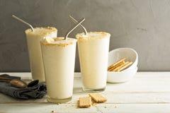 Banan i ciastka milkshake Zdjęcia Stock