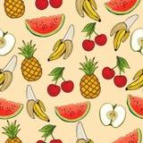 Banan, jabłko, ananas, wiśnia, arbuz, bezszwowy wzór, owocowy tło Rysujący na beżu, kreskówka, ręka Dla de Zdjęcia Stock