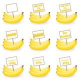 Banan med en etikett Arkivfoton