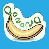 Banan med titeln på etiketten Klistermärke med ecoprodukten och Arkivbilder
