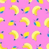 Banan- och citronmodell i plan stil Söt och färgrik sommarbakgrund också vektor för coreldrawillustration royaltyfri illustrationer