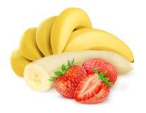 Banan och jordgubbe Arkivfoto