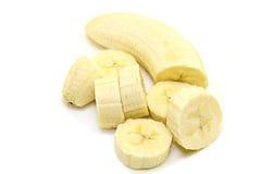 Banan på vit Arkivbilder