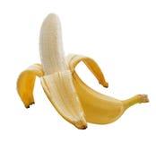 Banan som isoleras på vit bakgrund arkivbild