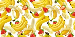 Banan, truskawkowy bezszwowy wzór, spada banany i truskawki na białym tle z ścinek ścieżką odizolowywający, obraz stock