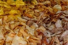 Banan, yuca, potatis och Malanga chiper arkivfoto