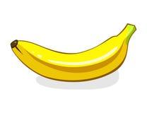banana Único fruto amarelo maduro Ilustração do vetor isolada no fundo branco Alimento do vegetariano de Eco Imagens de Stock Royalty Free