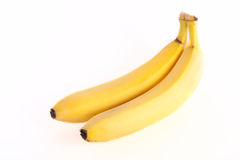 Banana. Two yellow bananas isolated on white background Royalty Free Stock Photography