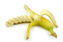 Banana. Sliced banana. Clipping path included Royalty Free Stock Photography