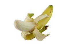 Banana. Single banana half peeled isolated on white Stock Photo
