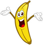 Banana. Cheerful Cartoon banana raising his hand vector illustration