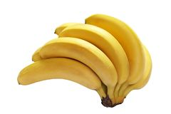 Banana. Bunch of  banana with clipping path over white background Stock Photos