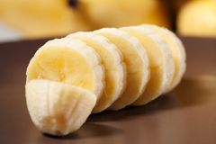 Banana. Sliced Banana in a brown plate Royalty Free Stock Images