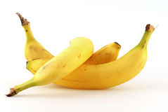 Banana. Yellow banana in front of white background Royalty Free Stock Image