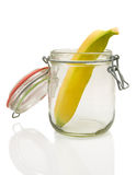 Banana. Fruit in a glass on white background Stock Images