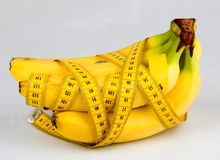 Banana. With measure meter Stock Photo