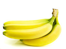 Banana. Yellow bananas isolated on white background Stock Photos