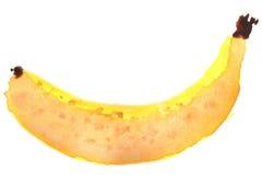 Banana in acquerello Fotografia Stock Libera da Diritti