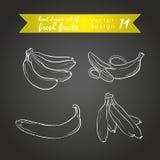banana Ajuste dos frutos frescos, inteiro, meio e mordido com folha Ilustração do vetor Isolado no quadro-negro ilustração stock