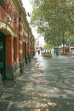The Banana Alley Vaults 1891-2 in Flinders Street extend onto the North Bank of the Yarra River. MELBOURNE, AUSTRALIA - March 15, 2017: The Banana Alley Vaults Stock Photos