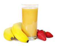 Banana And Strawberry Smoothie Stock Images