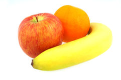 Banana apple and orange Stock Photos