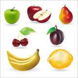 Banana apple pear cherry lemon fresh summer fruits set Stock Photos