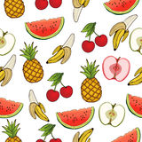 Banana, apple, pineapple, cherry, watermelon, seamless pattern, fruit background. Drawing  on a white , cartoon, hand Stock Photo